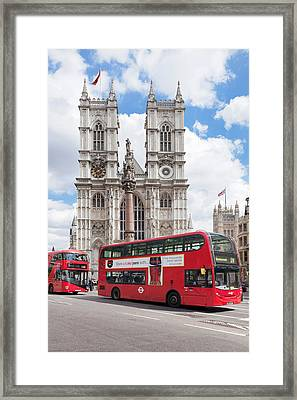 Double-decker Buses Passing Framed Print by Panoramic Images