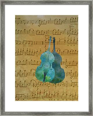 Double Double Bass On Score Framed Print by Jenny Armitage