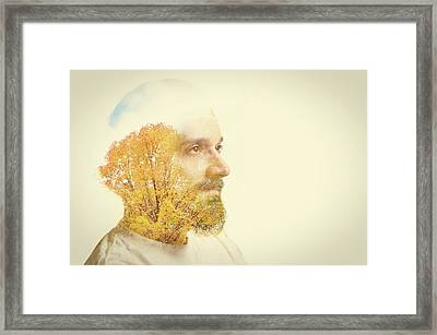 Double Exposure Man With Beard And Fall Framed Print by Sdominick