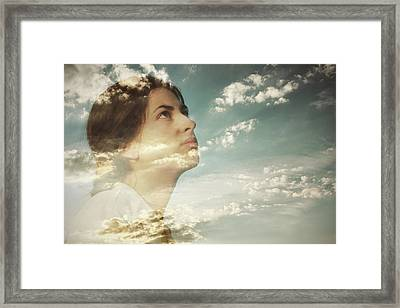 Double Exposure Of A Young Woman And Framed Print by Owl Stories