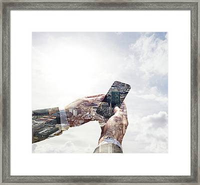 Double Exposure Of Smart Phone And Framed Print by Tim Robberts