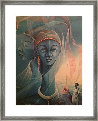 Double Face Of A Voodoo Woman Framed Print by Haitian artist
