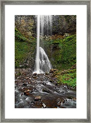 Double Falls In Silver Falls State Park In Oregon Framed Print