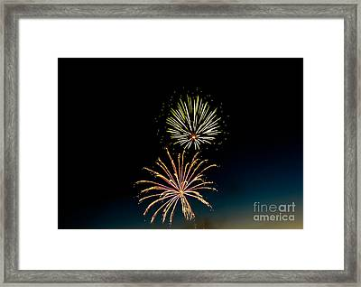 Double Fireworks Blast Framed Print by Robert Bales