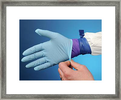 Double Gloving With Hazmat Suit Framed Print by Public Health England