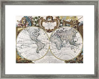 Double Hemisphere Map 1744 Framed Print