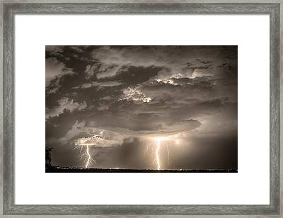 Double Lightning Strikes In Sepia Hdr Framed Print by James BO  Insogna
