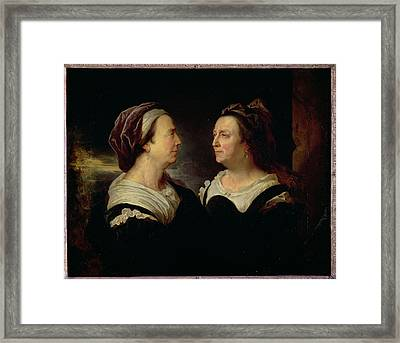 Double Portrait Of Marie Serre, The Artists Mother, 1695 Oil On Canvas Framed Print