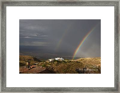 Framed Print featuring the photograph Double Rainbow And Jerome State Park by Ron Chilston