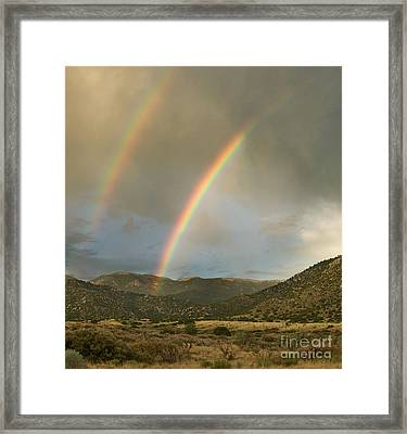 Double Rainbow In Desert Framed Print