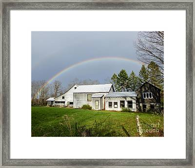Framed Print featuring the photograph Double Rainbow Over Barn by Kristen Fox