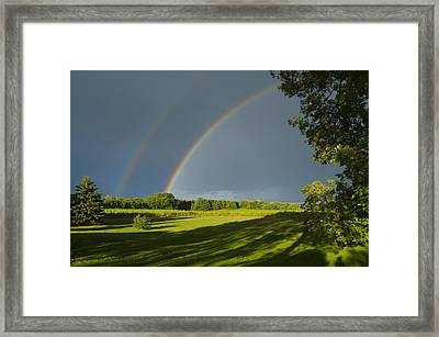 Double Rainbow Over Fields Framed Print