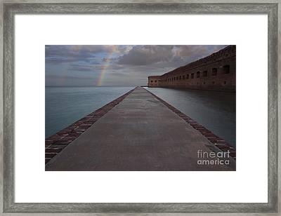 Double Rainbow Over Fort Jefferson Framed Print by Keith Kapple