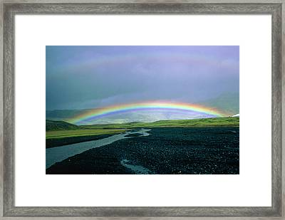 Double Rainbow Over Iceland Framed Print by Simon Fraser/science Photo Library