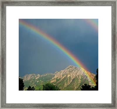 Double Rainbow Over Mount Olympus Framed Print by Howie Garber