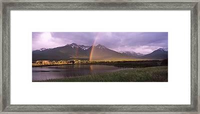 Double Rainbow Over Mountain Range Framed Print