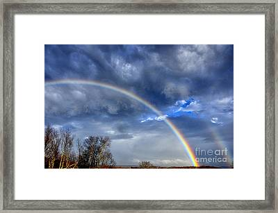 Double Rainbow Over Mountain Framed Print by Thomas R Fletcher