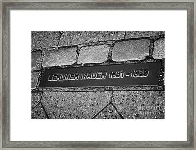 double row of bricks across berlin to mark the position of the berlin wall berliner mauer Berlin Germany Framed Print