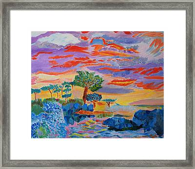 Framed Print featuring the painting Candy Coated Monterey Sunset by Meryl Goudey