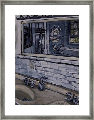 Double Sink Study In White Framed Print