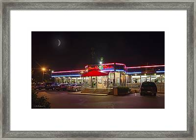 Double T Diner At Night Framed Print by Brian Wallace