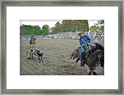 Double Team Ropers Framed Print by Gary Keesler