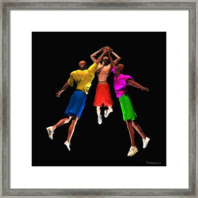 Double Teamed Framed Print by Walter Oliver Neal