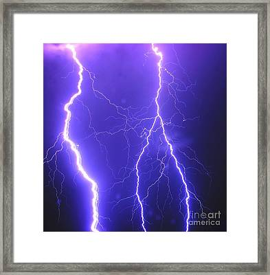 Double Triple Blue Lightning Framed Print