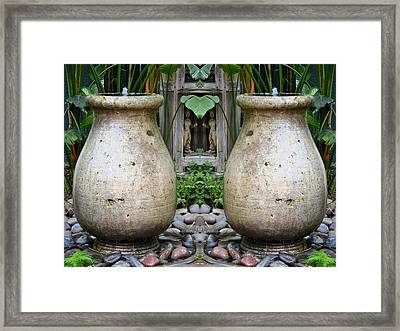 Double Water Fountains Framed Print by Michael Moriarty