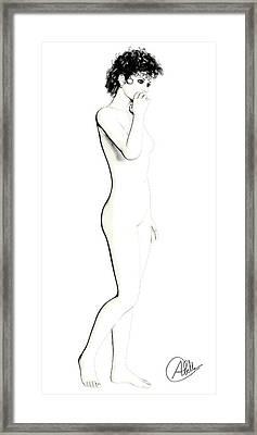 Drawing Girl By Quim Abella Framed Print