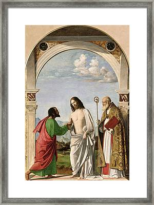 Doubting Thomas With St. Magnus Framed Print by Giovanni Battista Cima da Conegliano