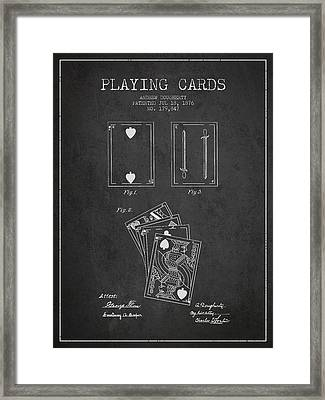 Dougherty Playing Cards Patent Drawing From 1876 - Dark Framed Print