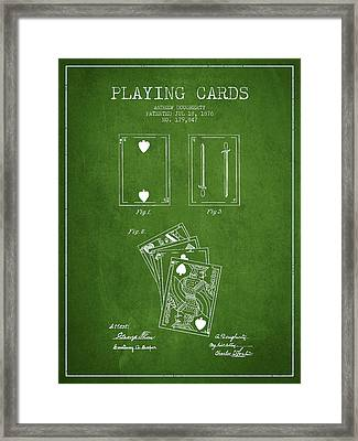 Dougherty Playing Cards Patent Drawing From 1876 - Green Framed Print by Aged Pixel