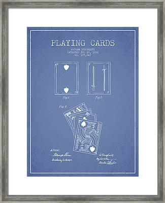 Dougherty Playing Cards Patent Drawing From 1876 - Light Blue Framed Print
