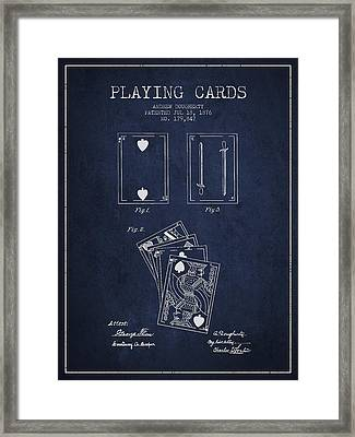 Dougherty Playing Cards Patent Drawing From 1876 - Navy Blue Framed Print by Aged Pixel