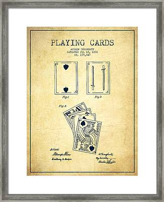 Dougherty Playing Cards Patent Drawing From 1876 - Vintage Framed Print by Aged Pixel