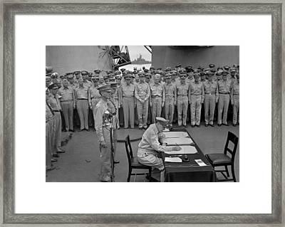 Douglas Macarthur Signs Documents Framed Print by Everett