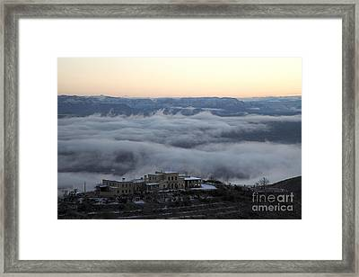 Douglas Mansion Above The Clouds Hovering Over The Verde Valley From Jerome Arizona Framed Print