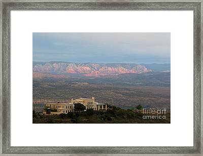 Framed Print featuring the photograph Douglas Mansion And Red Rocks Of Sedona by Ron Chilston
