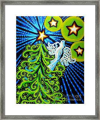 Dove And Christmas Tree Framed Print