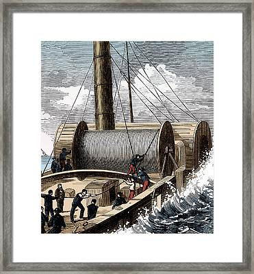Dover To Calais Telegraph Wire, 1850 Framed Print by Science Source