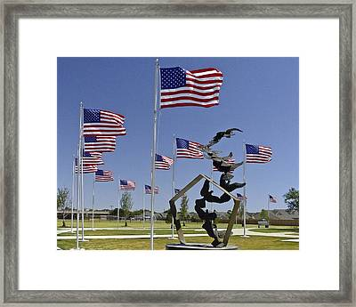 Framed Print featuring the photograph Doves And Flags by Allen Sheffield