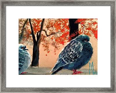 Framed Print featuring the drawing Doves Drawing by Maja Sokolowska