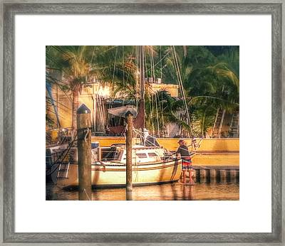 Down At The Docks Framed Print by Aileen Foust