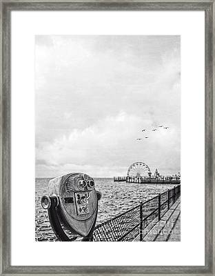 Down At The Pier Framed Print by Edward Fielding