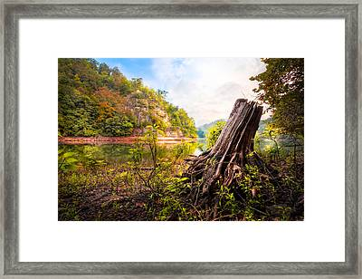 Down By The River Framed Print by Debra and Dave Vanderlaan