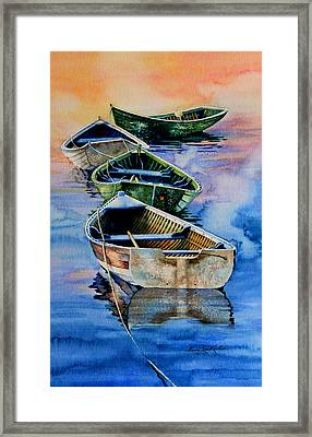 Down East Dories At Dawn Framed Print by Hanne Lore Koehler