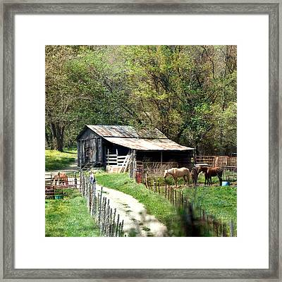 Down In The Valley Square Framed Print