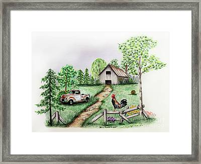 Down On The Farm Framed Print by Lena Auxier