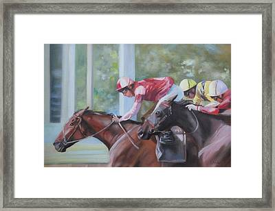 Down The Backstretch Framed Print